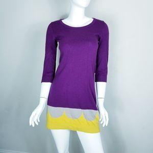 Boden Cashmere Blend Sweater Dress Colorblock Sz 2